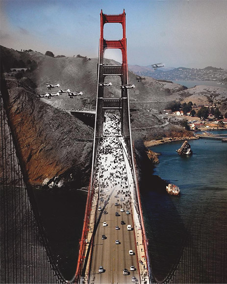 Old/New photo of Golden Gate Bridge